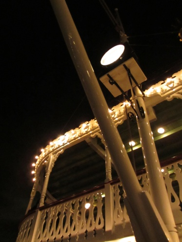 While the Columbia is in dry dock, Fantasmic! is also dark. That means you get the somewhat rare opportunity to take a night cruise on the Mark Twain. If you're anywhere nearby before February 14, I can't recommend this enough.