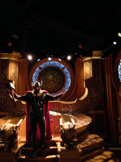 Last month I posted pictures from the exterior of the Thor: Treasures of Asgard exhibit in Innoventions. This month I actually went and did the meet and greet. In general it's fun, and the Cast Member who plays Thor does a good job, but the whole thing feels decidedly temporary. I admire the effort in showmanship of using the Bifrost to transport guests to Asgard, but the effect is somewhat weak, and while the throne room is impressive given the size of the exhibit, the illusion is far from complete. It feels like an exhibit designed for a convention rather than a theme park, which fits the tradition established by Iron Man Tech, but is still somewhat disappointing. Marvel is one of Disney's biggest properties right now, and instead of taking full advantage of it, they're just kind of phoning it in.