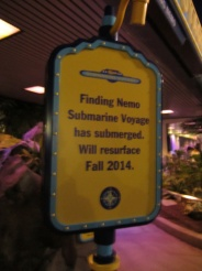 I apologize for the lousy quality of this picture, but I wanted to point out that Disney has doubled down and put up signs assuring guests that Finding Nemo Submarine Voyage will be back from refurbishment this fall, seemingly dispelling the rumor that they were going to quietly drop it off the refurbishment schedule and close it forever.