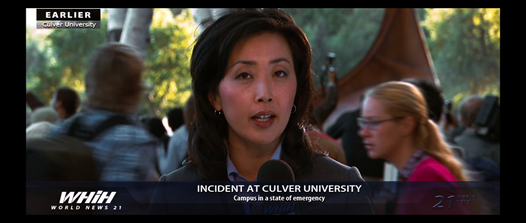 WHIH news broadcast from the Culver University campus following the fight between Hulk and the U.S. army.