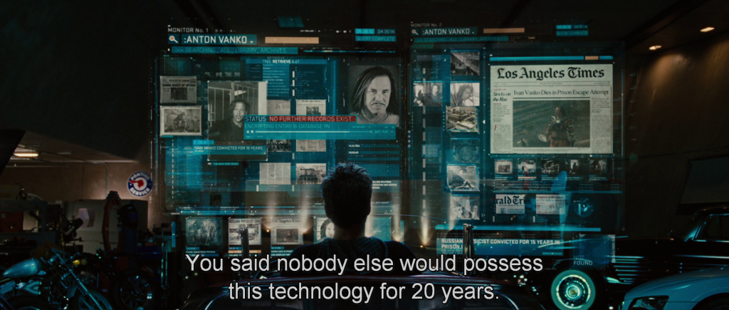 "Rhodey to Tony, ""You said nobody else would possess this technology for 20 years."""