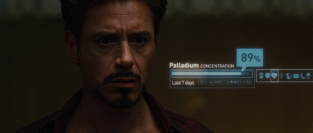 Concentration of Palladium in Tony's bloodstream is at 89%. Window indicates last 7 days.