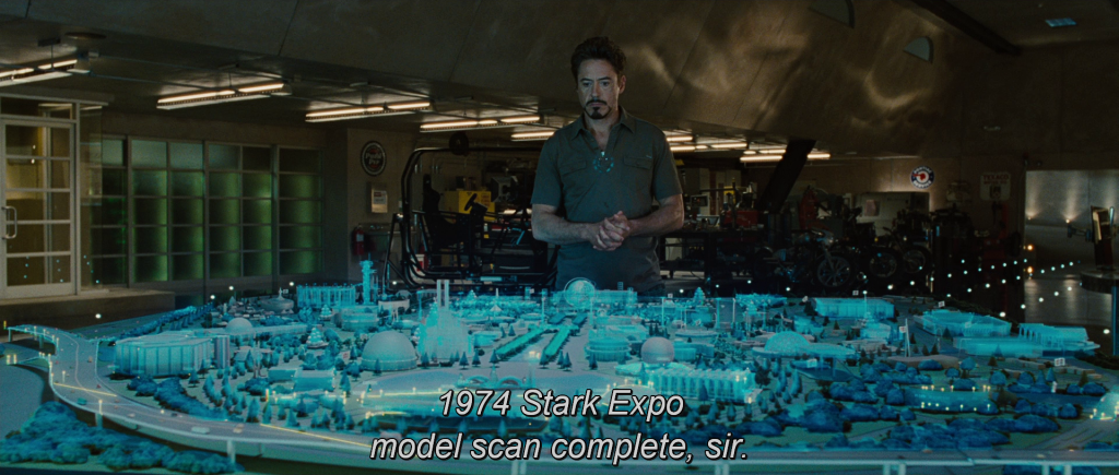 "Jarvis: ""1974 Stark Expo model scan complete, sir."""