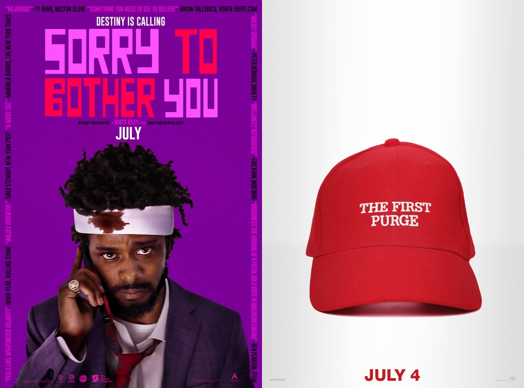 "Posters for ""Sorry to Bother You"" and ""The First Purge."""