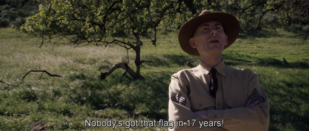 Drill sergeant of Steve's troop exclaiming,