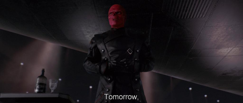 Red Skull addressing Hydra troops,
