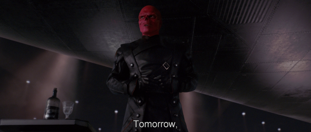 Red Skull addressing Hydra troops,