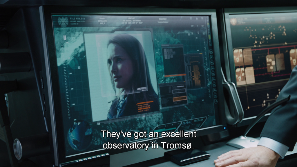 Coulson explains Jane Foster's whereabouts to Thor,