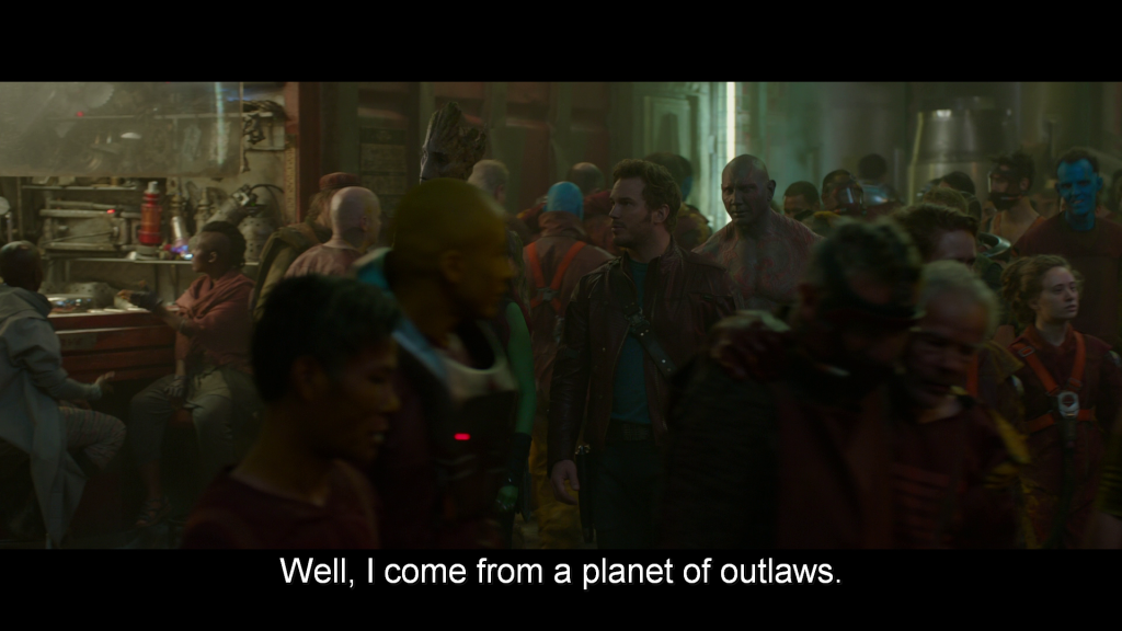 Walking through the crowded streets of Knowhere, Peter tells Drax,