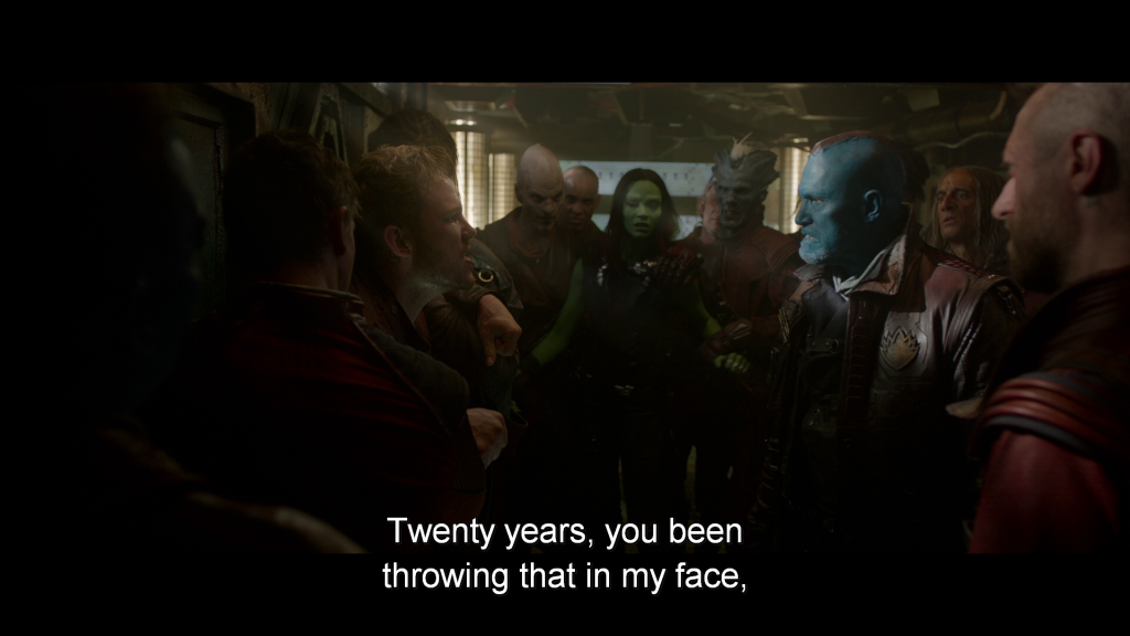Peter confronts Yondu on his ship,