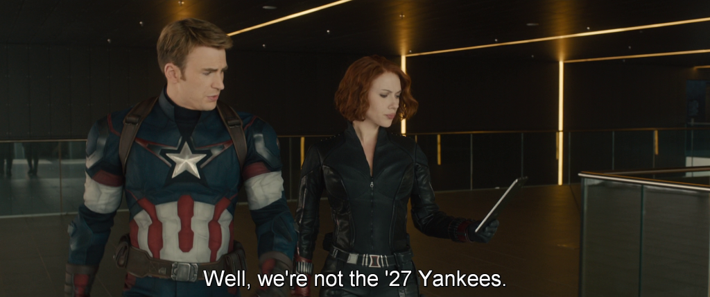 Steve discusses the new Avengers team with Natasha,