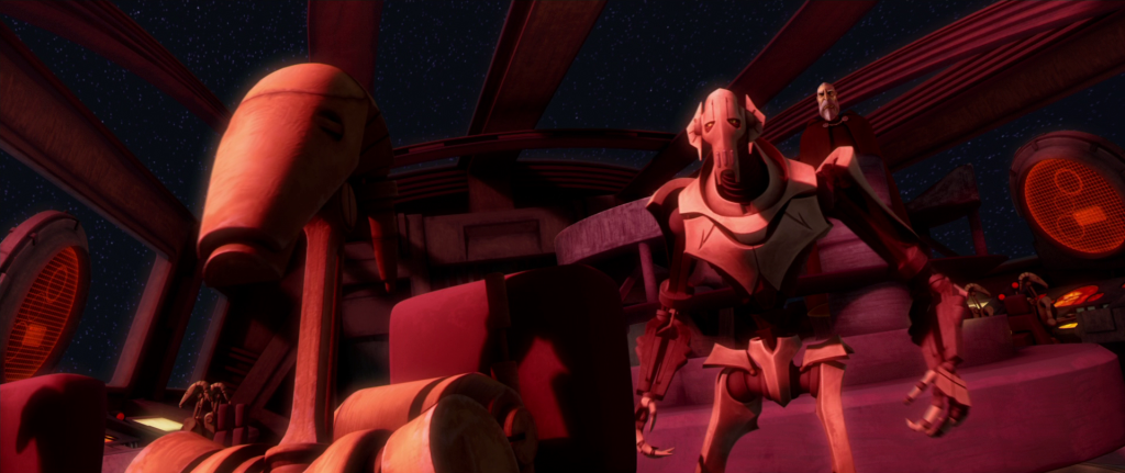 Count Dooku and General Grievous on the bridge of the Malevolence in