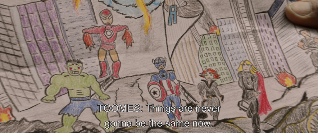Child's drawing of the Avengers battling in New York City. From offscreen, Toomes says,