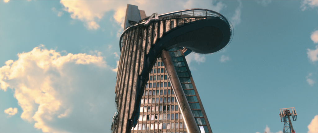 Stark Tower, heavily damaged, as it appeared at the conclusion of