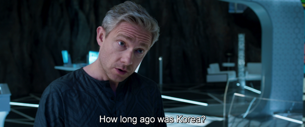 "Agent Ross asks Shuri, ""How long ago was Korea?"""