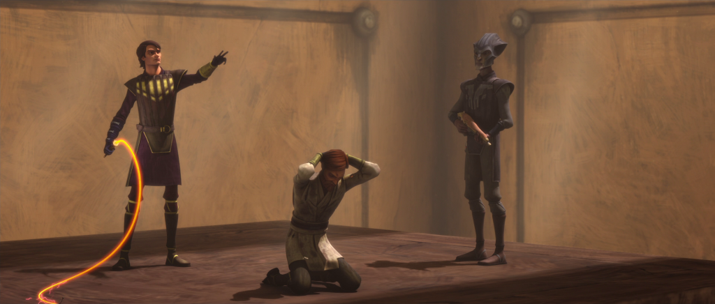 Anakin stands over Obi-Wan holding a laser whip in