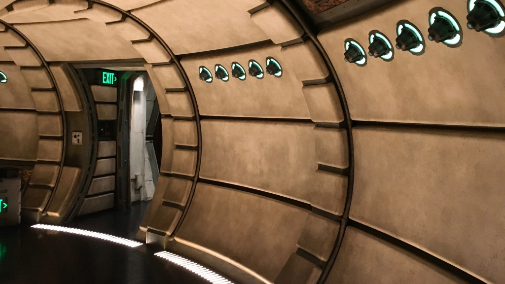 Corridor of the Millennium Falcon in Smuggler's Run at Star Wars: Galaxy's Edge.